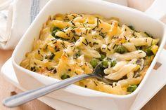 Corn, pea and cheddar pasta