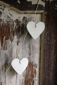 garland of clay hearts on a string