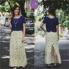 Puro charme o detalhe da fenda na saia longa #Vemprazas