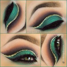 Green with gold crease eye makeup