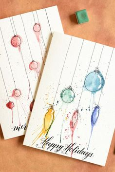 This stunning watercolor Christmas card is fun to DIY. The messier, the better! … This stunning watercolor Christmas card is fun to DIY. The messier, the better! Christmas Cards Drawing, Simple Christmas Cards, Watercolor Christmas Cards, Homemade Christmas Cards, Diy Christmas Ornaments, Watercolor Cards, Xmas Cards, Christmas Art, Handmade Christmas