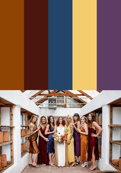 Looking for tips on styling mismatched bridesmaid dresses? Check out these color palettes to help you bring your vision together!    Image by Lilly Red Mismatched Bridesmaid Dresses, Bridesmaid Dress Colors, Wedding Bridesmaid Dresses, Wedding Blog, Wedding Styles, Wedding Ideas, Unique Wedding Colors, Bridesmaid Inspiration, Wedding Inspiration