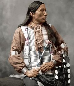 Oglala Lakota, 1899. Notice how long the bone necklaces had gotten by the end of the 1800's. They were much shorter in the mid to mid-late 1800s. That's one reason the Little Bat photo of Crazy Horse that's displayed as an almost official portrait now is most likely not him. The man in that photo has on a bone necklace like this, not really seen until the 1890s. Crazy Horse passed in 1877, when the short bone necklaces were worn. #native #history #oglala #lakota #portrait #color