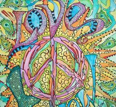 Love Now Singleton Hippie Art Original by justgivemepeace on Etsy, $135.00