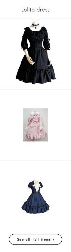 """Lolita dress"" by cotton-candy-girl ❤ liked on Polyvore featuring dresses, victorian dress, victorian day dress, square neck dress, chemise dress, victorian chemise, coats, lolita, angelic pretty and blue"