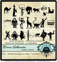 Circus Silhouette Clipart Clown Clip art by withwildabandon, $5.50