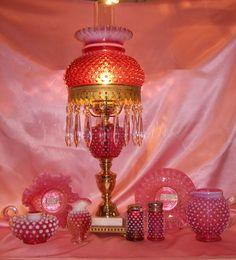 Fenton Cranberry  Hobnail Opalescent Lamp