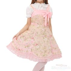 Floral scalloped dress Angelic pretty Lightly drawn rose and overall pink color is romantic. Big ribbon and pearl beads in the chest is a luxurious atmosphere. Scalloped hem and ruffles and chiffon fabric there are under the hem is elaborate and luxury. http://www.wunderwelt.jp/products/detail1564.html
