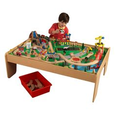 Free 2-day shipping. Buy KidKraft Waterfall Mountain Train Set & Table with 120 Accessories Included at Walmart.com Nintendo Mario Kart, Train Set Table, Play Table, Wooden Train, Model Train Layouts, Train Tracks, Classic Toys, Model Trains, Locomotive