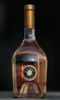 """A bottle of Angelina and brads   Miraval Cote de Provence rose wine is displayed in Paris.The wine, praised for its """"dynamism"""" and """"expressive fruit"""", was produced from Grenache, Syrah and Cinsault grapes"""