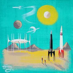 El Gato Gomez Painting Mid Century Modern Retro Space Rocket Futurism Sci Fi 50s | eBay