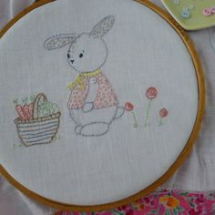 OLLIES MARKET DAY PDF Embroidery pattern OLLIES MARKET DAY just couldnt be cuter, this dear little rabbit just setting his basket down as he makes his way home from the market with carrots and a large cabbage for his dinner. This is a simple pattern using just back stitch and French knots beginners will love it and more experienced stitchers will delight in the tender design. I have included two sizes of the image for larger and small projects, a step by step tutorial with photos, hints…