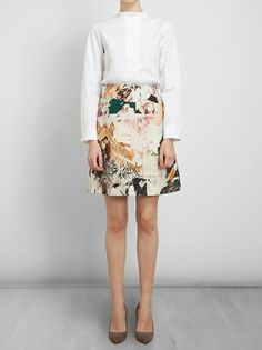 CARVEN - Collage Printed Wool-blend Skirt 5