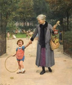 In the park with grandmother  ~ Victor Gabriel Gilbert (French, 1847-1935)