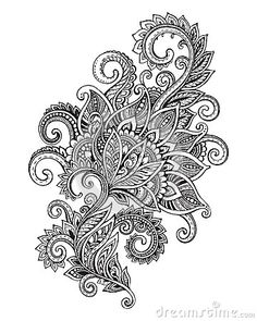 Zentangle Flowers Images, Stock Photos & Vectors Vector hand drawn ornate flower pattern in zentangle style. Black and white graphic doodle illustration - stock vector<br> Doodle Art Drawing, Mandala Drawing, Mandala Art, Paisley Drawing, Drawing Flowers, Henna Patterns, Zentangle Patterns, Flower Patterns, Pattern Flower