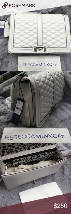 """Rebecca Minkoff Quilted Love Jumbo Crossbody Bag BRAND NEW WITH TAGS. Crafted of gorgeous luxe leather, this Rebecca Minkoff classic pairs beauty and function. It's elegant finishes and generous size is perfect for transitioning from work to cocktails. Wear it crossbody or remove the chain strap to use it as a clutch. 11.75""""W x 8.5""""H x 3.5""""D 22"""" detachable crossbody strap Genuine leather Flap closure with turn lock One exterior slip pocket 3 interior slip pockets Exclusive lining + dust…"""