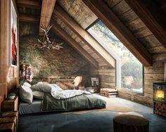"Polubienia: 14.9 tys., komentarze: 76 – Interior Design & Architecture (@homeadore) na Instagramie: ""Rustic Bedroom Visualization by Fernando Morrisoniesko """