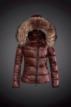 2015 Moncler Y 15 Fur Hooded down jacket for women in coffee  Moncler -    Moncler Online Shop Provide Moncler Jacket 2006e0265eb