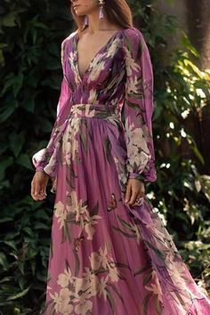 Women Sexy Floral Printed V-Neck Evening Party Dress – Prilly Solid Wrap Long Sleeve Maxi A-line Dress – Prilly maxi dresses maxi skirt outfit maxi dress outfit maxi dress summer maxi dress casual long dress casual summer dress outfit Long Sleeve Floral Dress, Maxi Dress With Sleeves, Belted Dress, Floral Maxi Dress, Chiffon Dress, Boho Dress, Pleated Maxi, Long Sleeve Maxi, Floral Chiffon