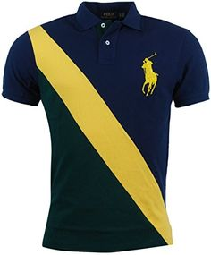 Polo Ralph Lauren Mens Custom Fit Big Pony Polo Shirt - M - Navy/Green
