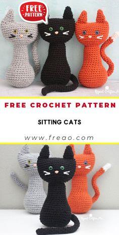 Crotchet Animals, Easy Crochet Animals, Crochet Cat Toys, Halloween Crochet Patterns, Crochet Square Patterns, Crochet Bear, Crochet Patterns Amigurumi, Teddy Bear Knitting Pattern, Crocheted Toys