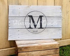 Rustic Large Family Name and est. date monogram hand painted reclaimed pallet wood sign established anniversary Wedding Guest Book by WehuntWoodDecor on Etsy https://www.etsy.com/listing/286645693/rustic-large-family-name-and-est-date