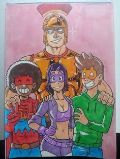 Group shot!  Hey, I'm also on Patreon! check it out ;) http://www.patreon.com/dados?ty=h  #Group #shot #commission #mask #gold #violet #centurion #TNT #traditionalart