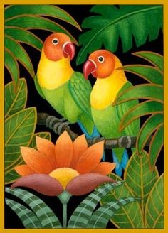 two-parrots-and-flowers …