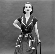 Hermes 1952 Trompe L'oeil dress.
