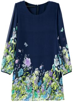 Blue Long Sleeve Floral Butterfly Print Dress