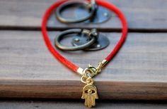 Red string Bracelet evil eye Kabbalah Madonna hamsa by baraki, $3.50