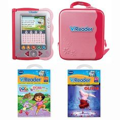 Vtech V.Reader Bundle - Pink by Vtech. $164.99. Olivia Takes Ballet storybook cartridge. Dora and the Three Little Pigs storybook cartridge. What's That Noise storybook cartridge. A Pink V.Reader storage tote. The V.Reader Interactive E-Reading System. With the VTech V.Reader Bundle - Pink, children will discover the joy of reading while seeing well-loved characters like Scooby-Doo and Mickey Mouse in stories with vivid animations. As the stories come alive with animation...