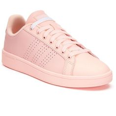 Adidas NEO Cloudfoam Advantage Clean Women's Shoes (600 MAD) ❤ liked on Polyvore featuring shoes, light pink, laced up shoes, striped shoes, vegan leather shoes, light pink shoes and faux leather shoes
