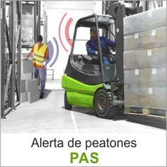 El sistema de alerta de peatones (PAS) es una solución que advierte a los conductores de las carretillas cuando detecta peatones en distancias ajustables de 1 a 6.5 metros.   Los peatones tienen que llevar llaveros electrónicos (Tags) que alertan al conductor con señales luminosas cuando una carretilla los detecta, alertando al conductor del riesgo.