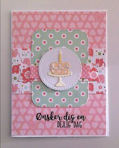 """Card cake candle TE Cake and stand Taylored Expressions, MFT rounded stitched rectangle stax Die-namics, MFT banners Die-namics, Echo Park : Bundle of Joy - girl  2 paper pad Echo Park """"Bundle of Joy : A New Addition Girl"""" collection - inspired by MFT Sketch Challenge 236 - JKE"""