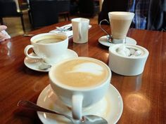 Coffees at a family brunch in King's Cross, London.