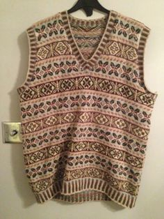 Vtg 1940/50 Wool Fairisle Tank Top Stunning Size Chest 44 Inches