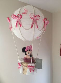 Hot Air Balloon Lamp Light shade With Official Disney Minnie Mouse in Baby, Nursery Decoration & Furniture, Lamps & Shades Minnie Mouse Nursery, Minnie Mouse Theme, Minnie Mouse Baby Shower, Hot Air Balloon Centerpieces, Balloon Decorations, Mickey Birthday, Baby Birthday, Mickey And Friends, Baby Party