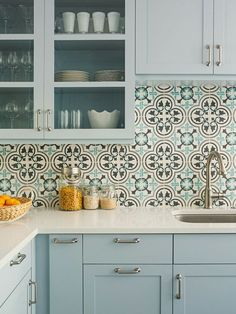 Kitchen Tile and Backsplash Ideas . Kitchen Tile and Backsplash Ideas . A Granada Tile S Cluny Cement Tile Backsplash Updates A Kitchen Wall Tiles, Kitchen Backsplash, Diy Kitchen, Kitchen Interior, Kitchen Decor, Kitchen Cabinets, Backsplash Ideas, White Cabinets, Kitchen White