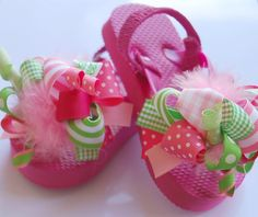 Boutique FUNKY fun PINK LIMEADE toddler flip flop sandals