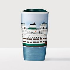 Seattle Double Wall Traveler. A double-walled ceramic mug showcasing Seattle's ferry travel, an integral way of life in the city.