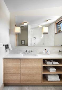 Meuble sous lavabo salle de bain doté d'étagères ouvertes – 15 modèles…