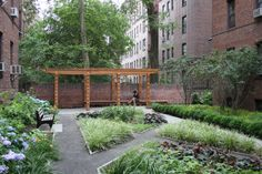 This project is for the design of the landscape surrounding an apartment building in the Jackson Heights neighborhood of Queens, New York. The project includes an inner courtyard garden that features a cedar pergola framed by paths that cut through varied planting beds. The courtyard design transformed unsightly light well with a bare dirt floor and drainage problems into a verdant place of repose for tenants and their . Todd Rader and Amy Crews Architecture Landscape Architecture LLC