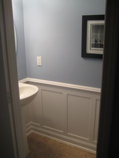 Half Bath Redo with Moulding - I love this idea for our half bath/laundry room