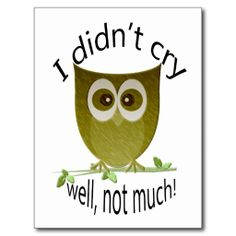 I didn't cry, well, not much! funny cute Owl art Postcard