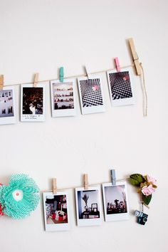 instax pic display. will definitely do this Instax Wall, Polaroid Foto,  Polaroid Wall 6520982df540