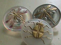 Vintage Buttons  Czech Glass beautiful dragonflys by pillowtalkswf, $6.95