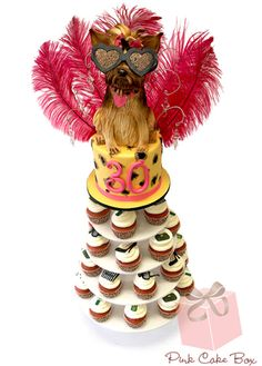 Yorkie Cupcake Tower by Pink Cake Box for Ashley's 30th Birthday!