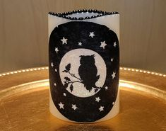 Halloween LED Pillar Candle With An Owl And The Moon - Glows In The Dark by DontForgetTheFlowers on Etsy Wrapping Paper Bows, Gift Wrapping, Flameless Candles, Pillar Candles, Halloween Candles, Halloween Decorations, The Darkest, Color Pop, Decoupage