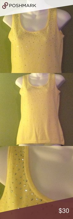 NWOT Christine Alexander Very classy yellow cami , 63% cotton 37% spandex. It's so soft  and light weight, almost like a cotton sweater. Her signature is all over this pretty top, she sparkles big! Brand new! Christine Alexander Tops Camisoles